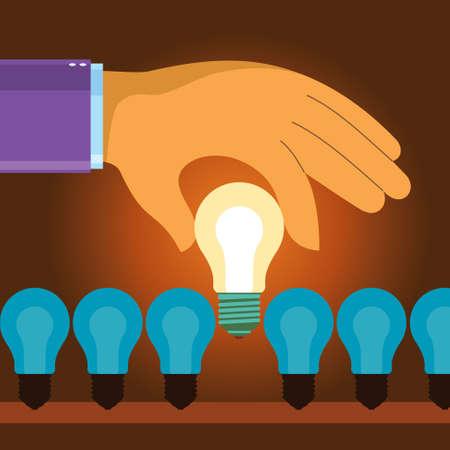 business hand choose idea light bulb - Illustration