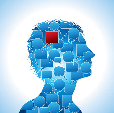 thinking icon: Voice Bubbles In The Head - Illustration Illustration