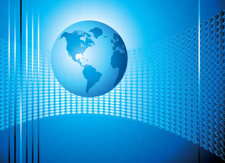 Globe on Blue  Background - Illustration Illustration