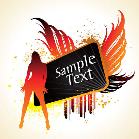 silhouette of young girl with wings and stylish text on abstract background. Vector