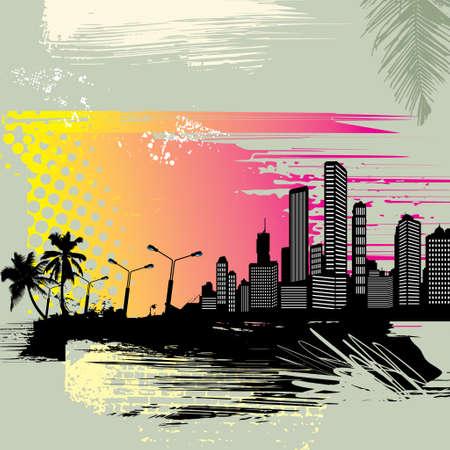 Tropical Cityscape Background - Illustration