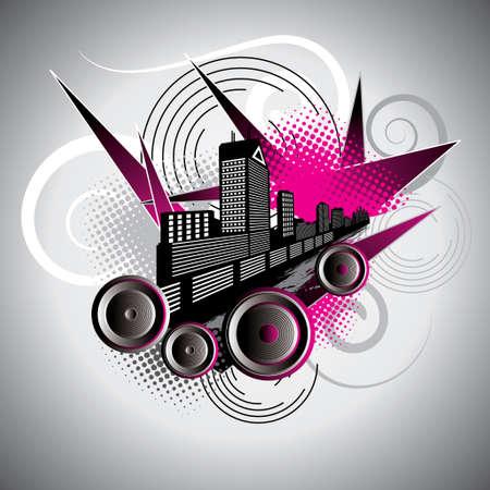 inkblot: urban scene Illustration