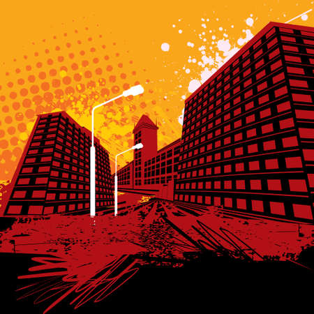 horizon over land: Grunge City Illustration