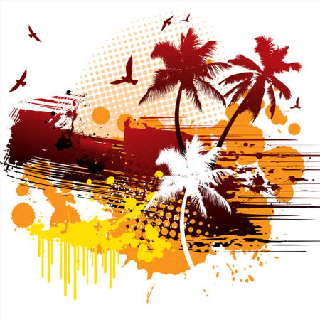 Grunge tropical background - Illustration Vector