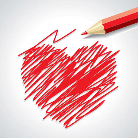Pencil hand-drawn sketch heart, vector background template - Illustration Vector