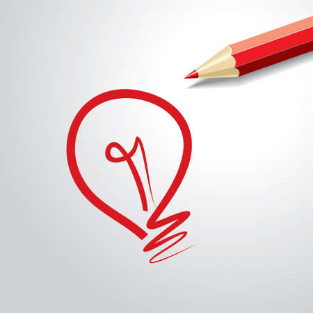 bulb light: Pencil with light bulb  Idea concept. Vector illustration Illustration