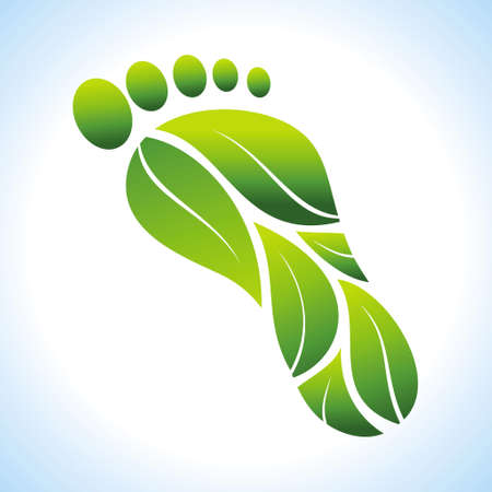 foot: Go Green. Ecology Concept. Illustration