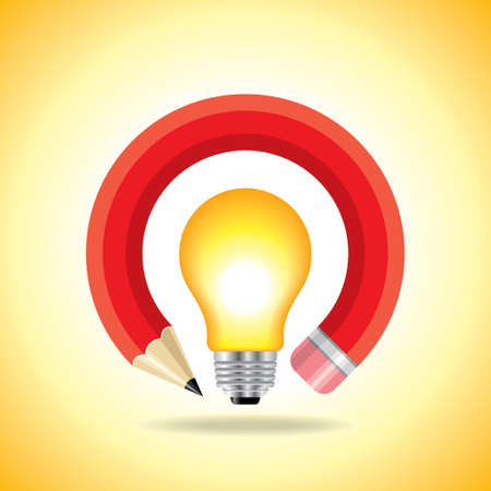small lamp: idea of education vector