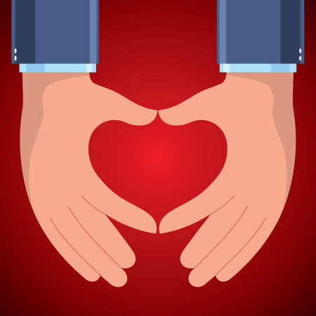 Hands with love heart - VECTOR - Illustration Vector
