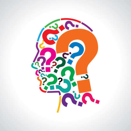 silhouette of a question mark with human head Vector