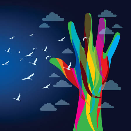 releasing: colorful hand background - Illustration