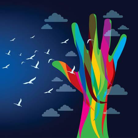 colorful hand background - Illustration