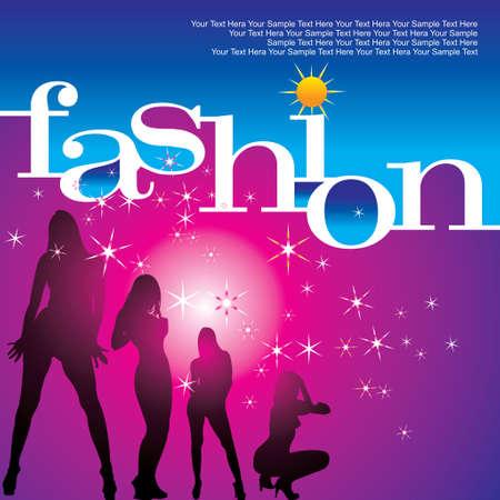 vector modern fashion background with elegant stylized fashion model Vector