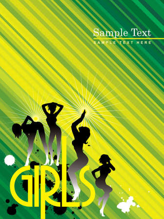 girls dancing in silhouettes Vector