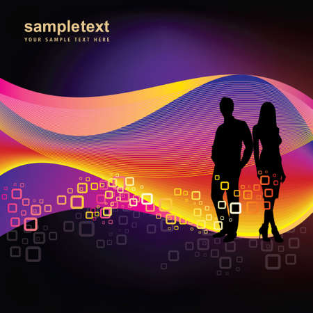couple lit: Business Couple on Abstract Background Illustration