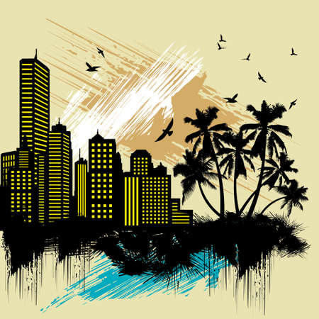 miami south beach: city with palm tree and colorful paint splat Illustration