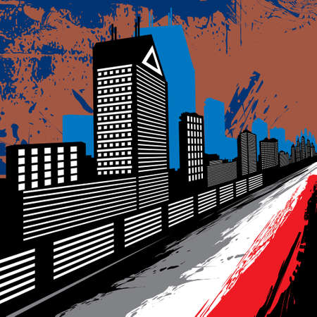 razor wire: Industrial city background - Illustration