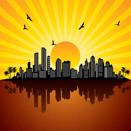 over the hill: sunrise of a city - Illustration