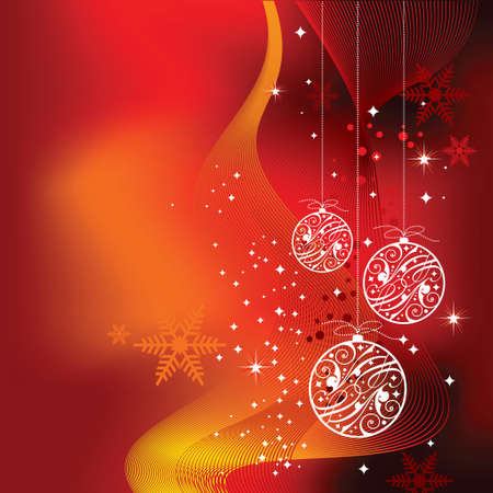 Christmas illustration with shiny glass ball on red background. Vector