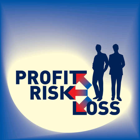 profit loss: Businessmen  with text Profit, Risk, and Loss Illustration