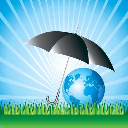 preservation: Planet earth under umbrella, nature preservation concept