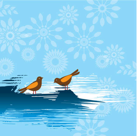 Pair of Robins On Seamless Background Illustration Vector