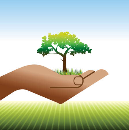 small tree: hands holding a small tree Illustration