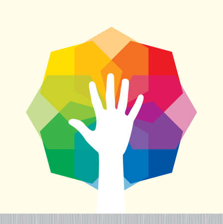hope: human hand with colorful background