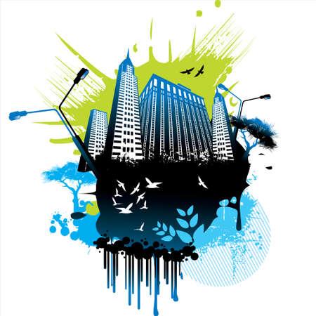 vanishing point: Grunge urban background.  Illustration