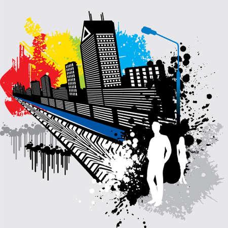 busy street: modern city - Illustration
