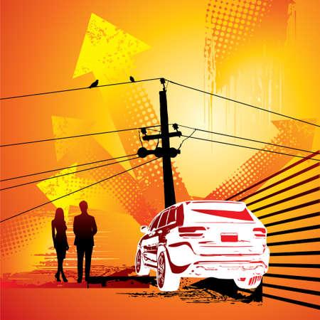 organized crime: grunge City Skyline and 50s retro car silhouette illustration - Illustration