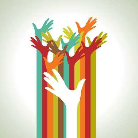 community help: warm colorful up hands illustration
