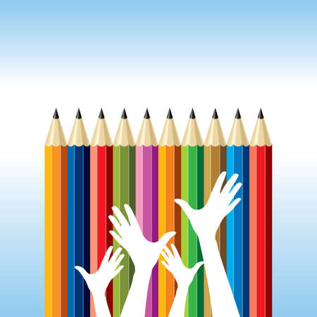 writ: happy hands with pencil. education idea