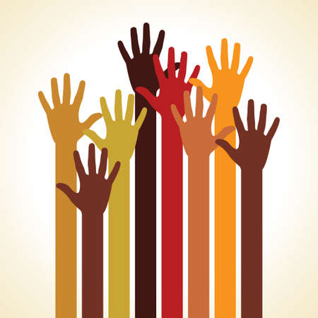 colorful up hand, concept of democracy Vector