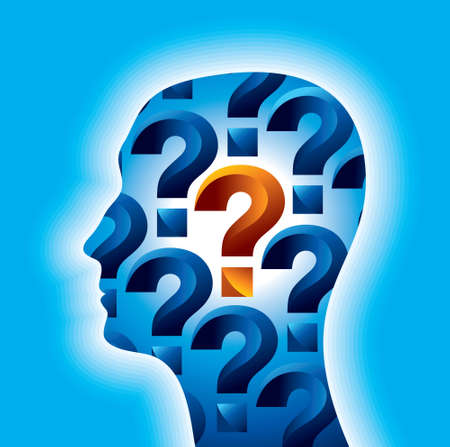 man s: Man s head with many question - Illustration