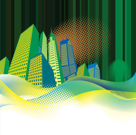 midwest: City Skyline Color Vector Illustration - Illustration