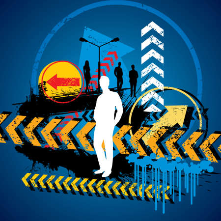right of way: vector silhouette of a businessman deciding the right way,