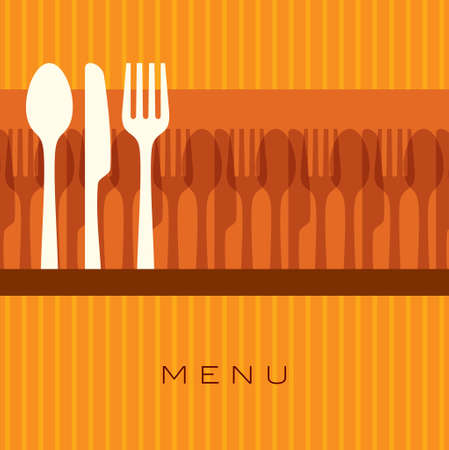 illustration of template for menu card with cutlery Vector
