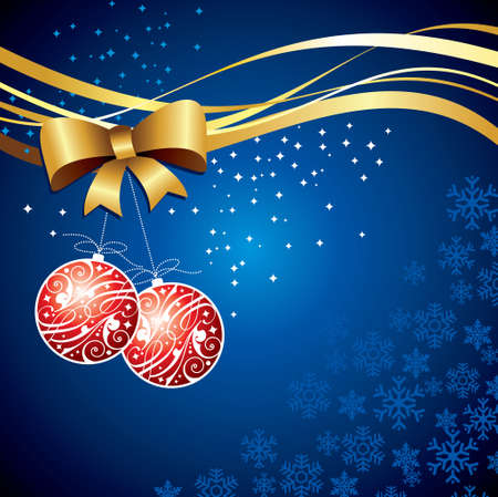 glistering: christmas balls on blue background
