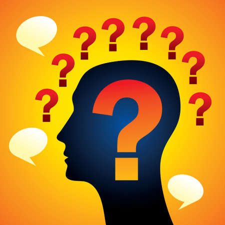 human head with question mark - Illustration Vector