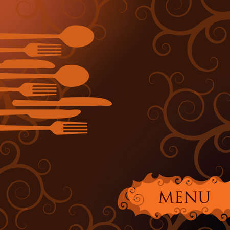 commercial kitchen: Restaurant menu background in flat design style. - Illustration Illustration