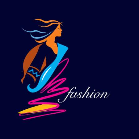 creative fashion portrait Vector