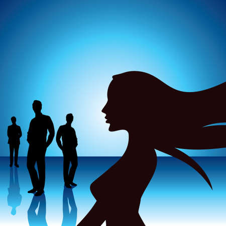 busines: busines woman with team isolated on white vector illustration