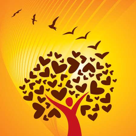 summer background. Tree & birds concept vector Vector