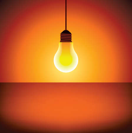 tungsten: light bulb on glowing background - Illustration