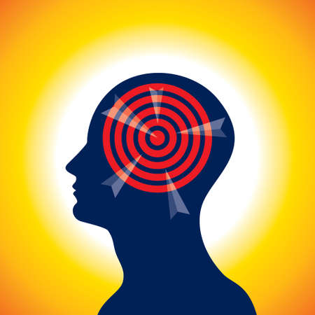 Silhouette of a human head with the target - Illustration