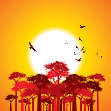 horizon over land: Tree landscape - Illustration
