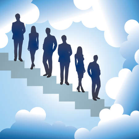 high up: businessman reaching to  the high up