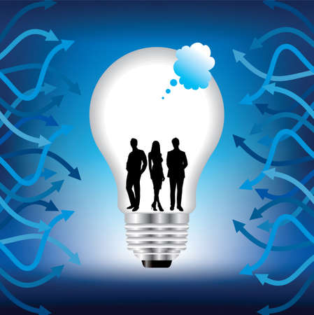risky innovation: Modern human men inside a high-tech light bulb, smart businessman info graphic concept,