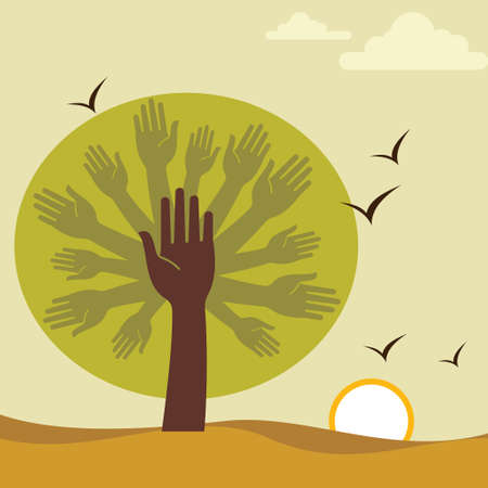 yearn: hand and tree-save nature Illustration